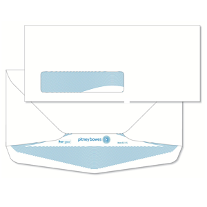 Pitney Bowes® Envelopes #10 Gummed White Window 24lb Security Tint - Bottom Flap