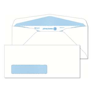 Pitney Bowes® Envelopes #9 Gummed White Window 24lb Security Tint