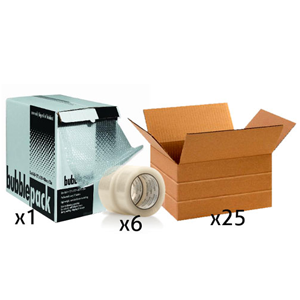Office Shipping Bundle - Small Multi-Depth Box, Tape, Bubble Wrap Box