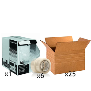Office Shipping Bundle - Large Multi-Depth Box, Tape, Bubble Wrap Box