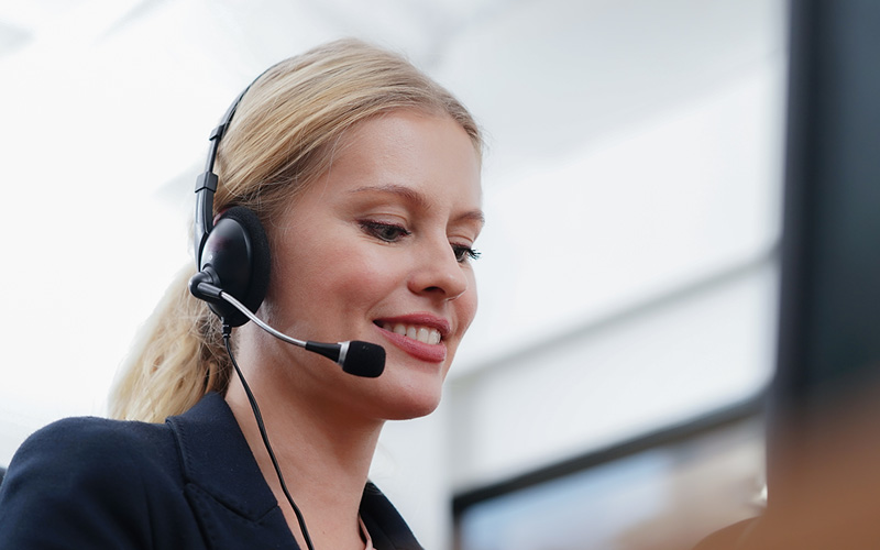 woman with a headset on